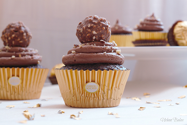 Ferrero Rocher Cupcakes with Nutella Frosting | URBAN BAKES