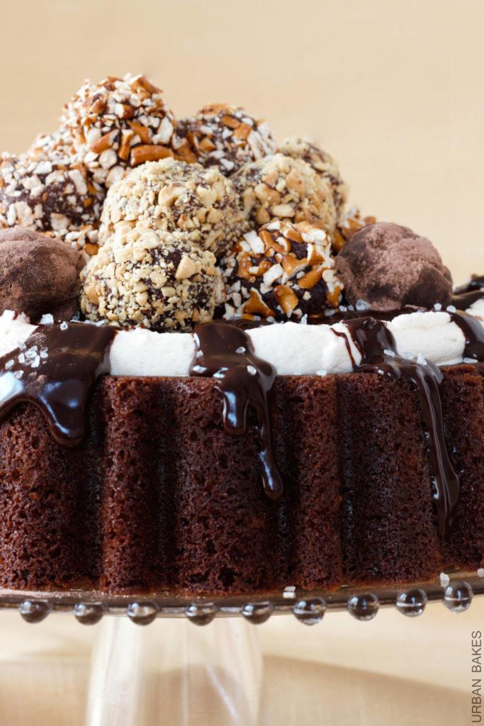 Sweet & Salty Guinness Truffle Chocolate Cake with Irish Whiskey Ganache and BAILEYS buttercream frosting | URBAN BAKES