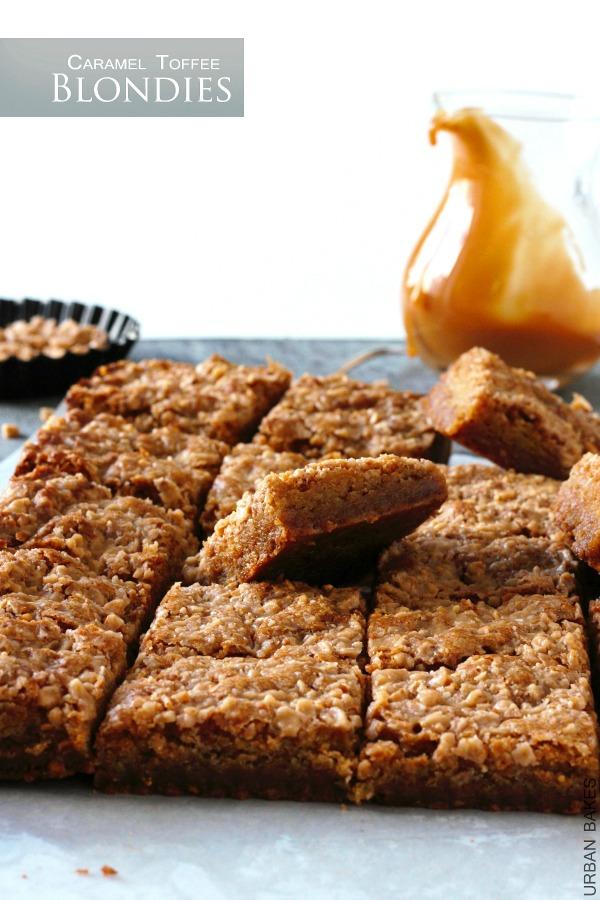 Best Toffee Caramel Blondies | URBAN BAKES
