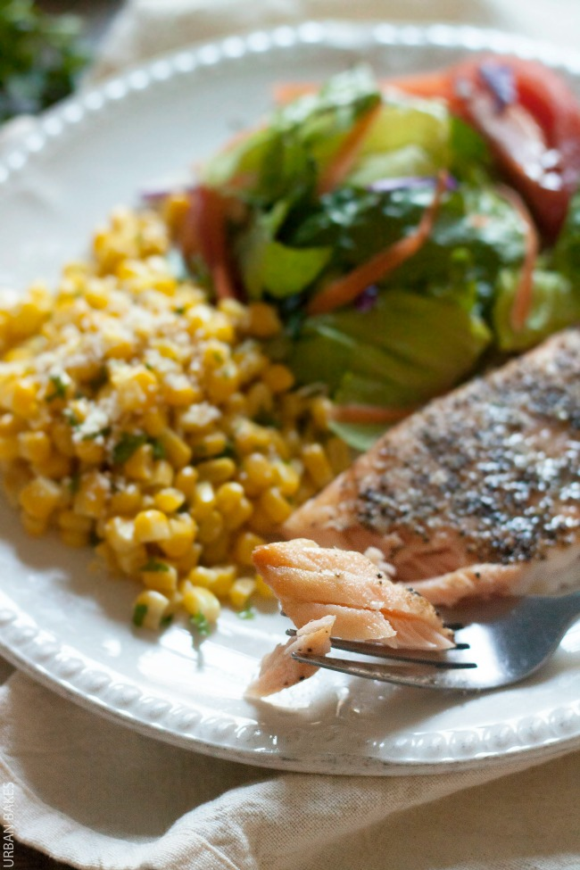 Bumble Bee SuperFresh Salmon with Garlicky Black Pepper and Oil with a side of seasoned corn and garden salad | URBAN BAKES