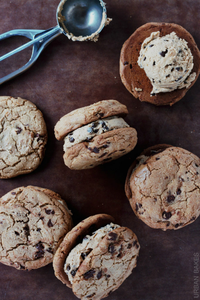 Brown Butter Chocolate Chip Cookie Sandwiches with Edible (Eggless) Chocolate Chip Cookie Dough | urbanbakes.com