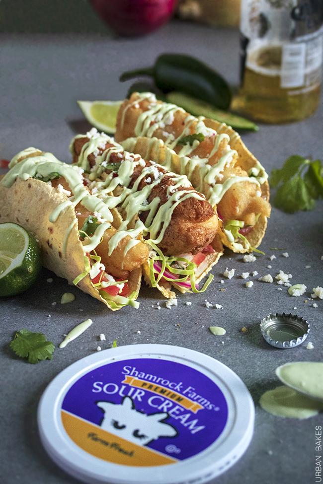 Crunchy Fish Tacos with Avocado Lime Sauce   URBAN BAKES