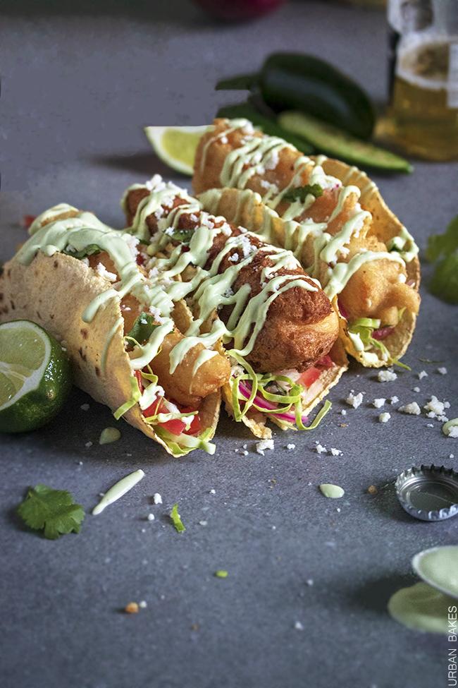 Crunchy Fish Tacos with Avocado Lime Sauce | URBAN BAKES