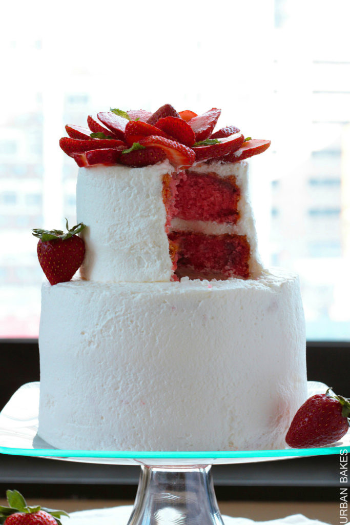 A light and fluffy Strawberry Cake using real strawberries leaving you with a refreshing taste | urbanbakes.com