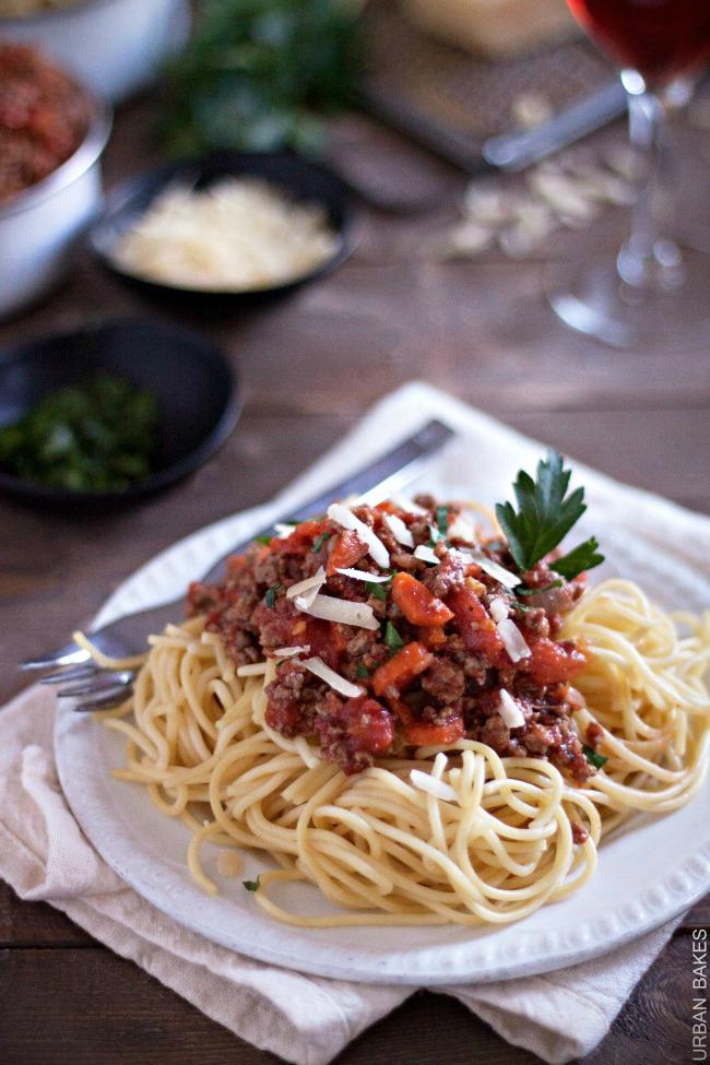 Spaghetti with San Marzano Tomato Meat Sauce | URBAN BAKES
