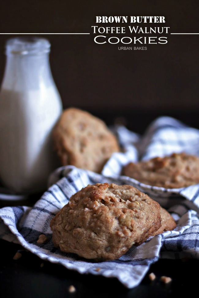 Brown Butter Toffee Walnut Cookies | URBAN BAKES