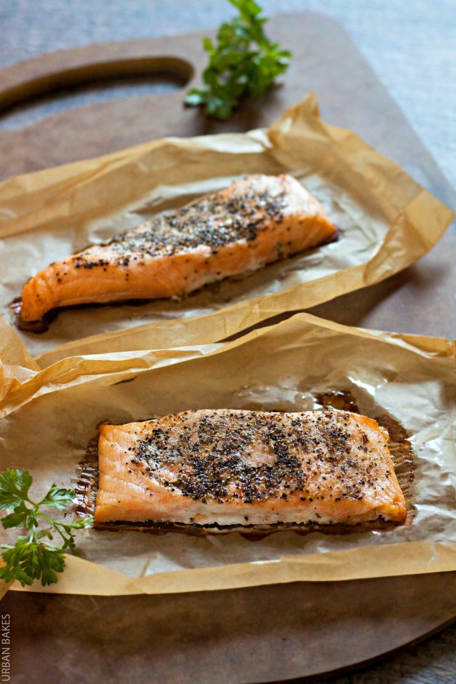 Bumble Bee SuperFresh Salmon with Garlicky Black Pepper and Oil with a side of seasoned corn and gardensalad | URBAN BAKES