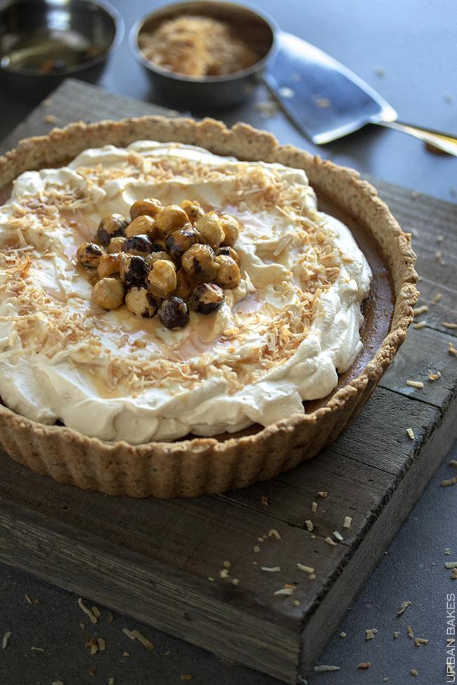 Hazelnut Dulce de Leche Coconut Pumpkin Pie | URBAN BAKES