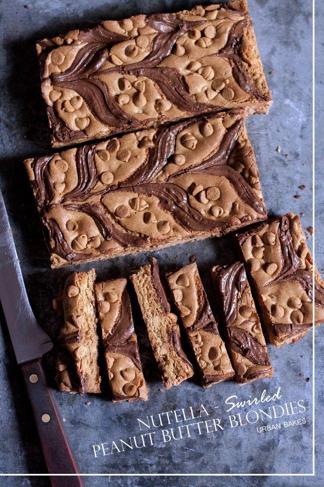 Nutella Swirled Peanut Butter Blondies | URBAN BAKES