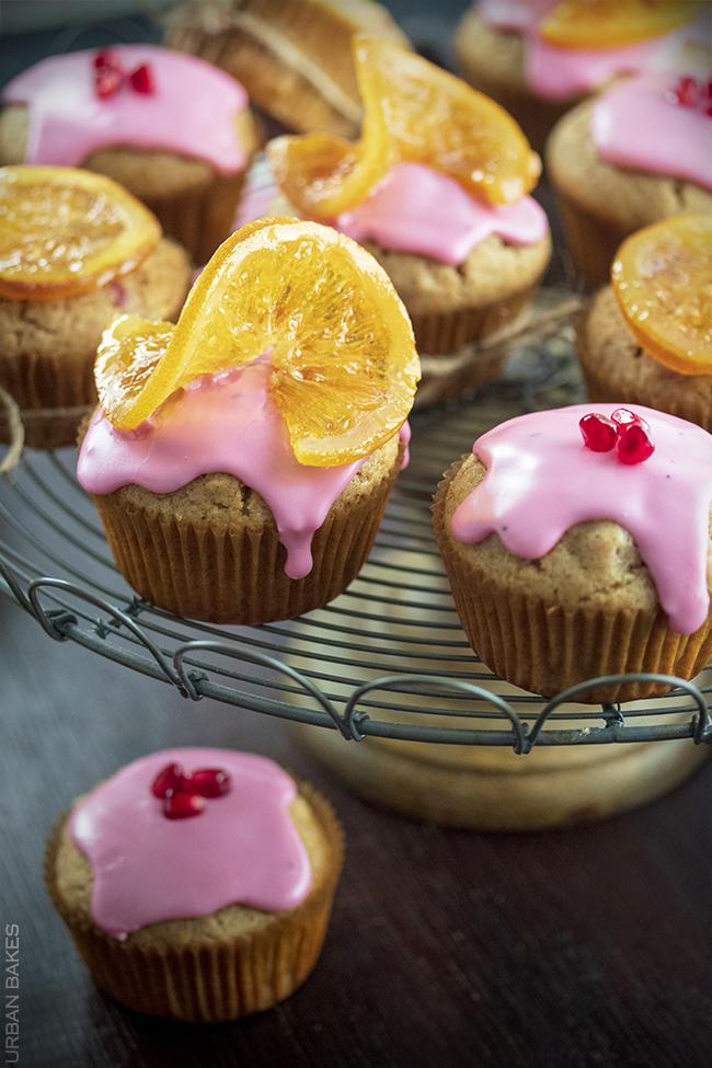 Orange Chai Muffins with Pomegranate Glaze | URBAN BAKES