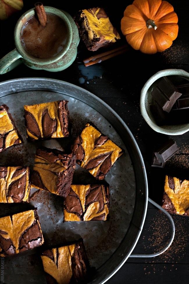 Pumpkin Swirl Bourbon Brownies | URBAN BAKES