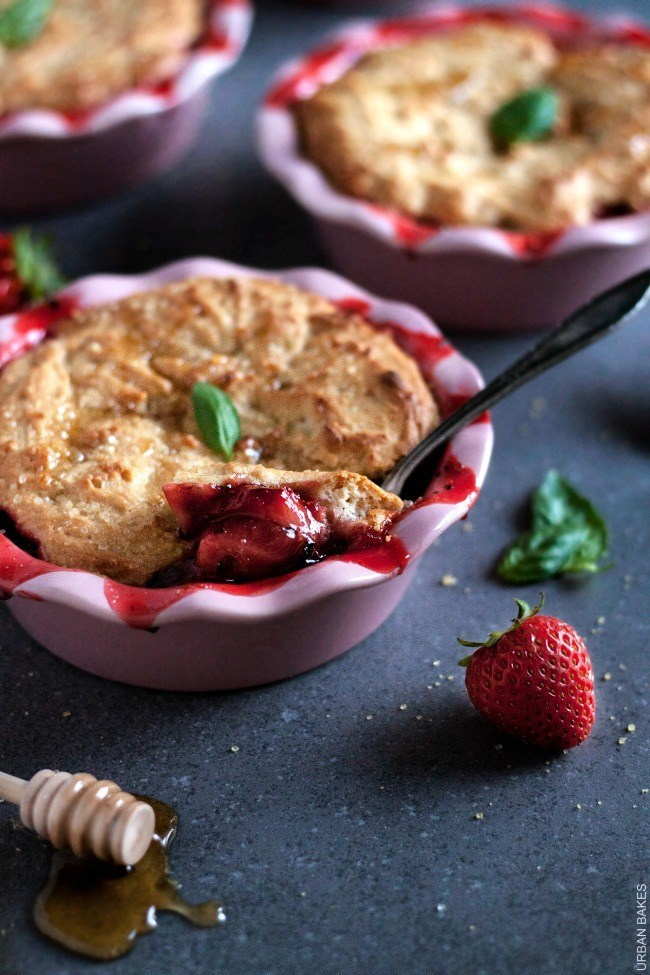 Strawberry Basil Cobbler with Lemon Honey Biscuits | URBAN BAKES