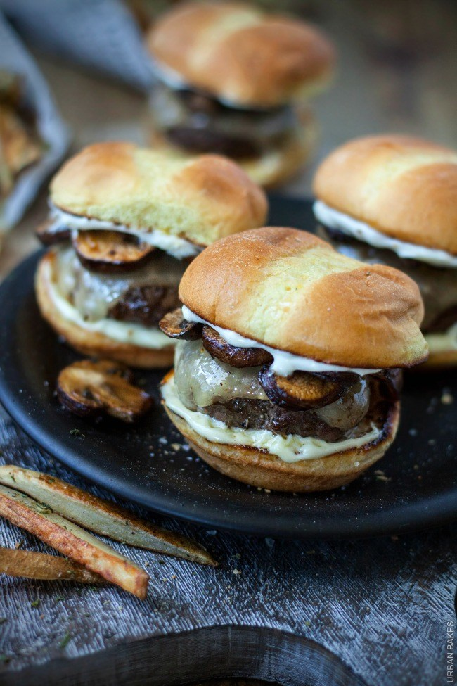Truffle Mushroom and Swiss Sliders | URBAN BAKES