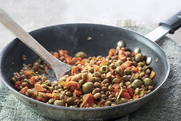 Sauteed Gandules (Pigeon Peas) with onions, peppers, carrots and olives | URBAN BAKES
