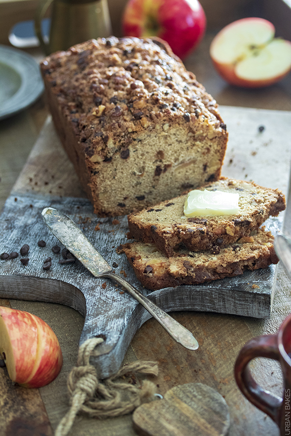A Slice of this Soft and Sweet Quick Bread with Apple Chunks, Bits of Chocolate and Toasted Walnuts Makes for a Wonderful Morning Treat or Snack Throughout the Day!