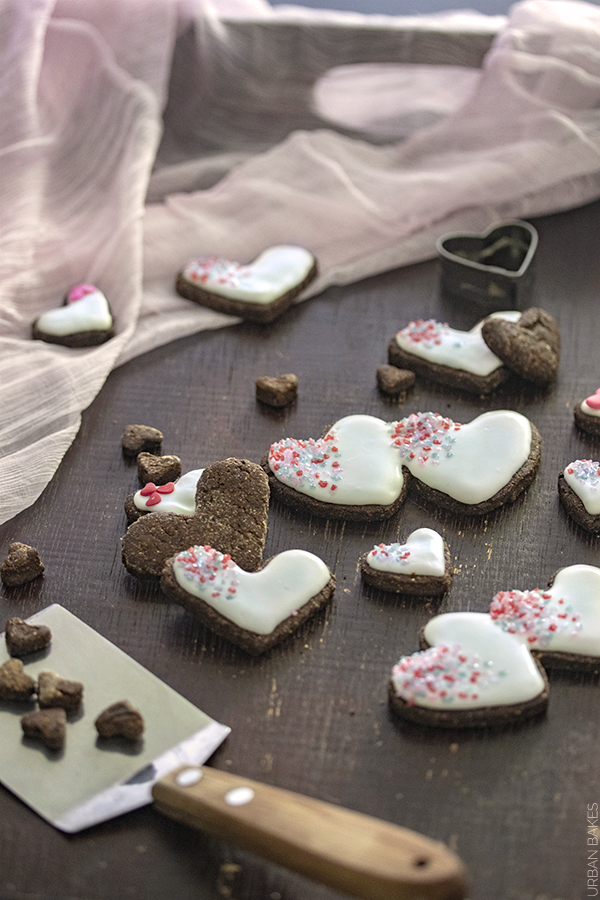 Glazed Carob Heart Cookie Dog Treats | URBAN BAKES