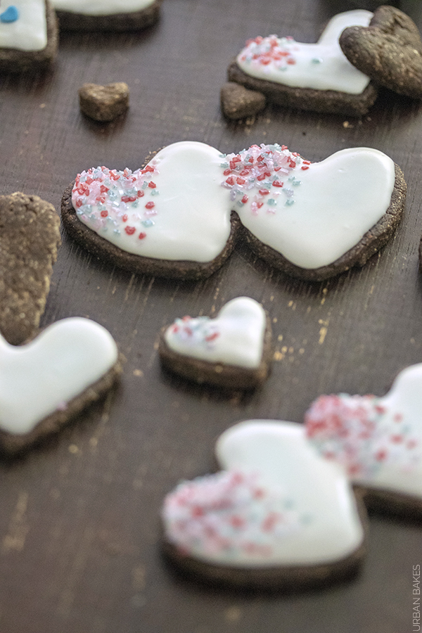 Glazed Carob Heart Cookie Dog Treats | URBAN BAKES