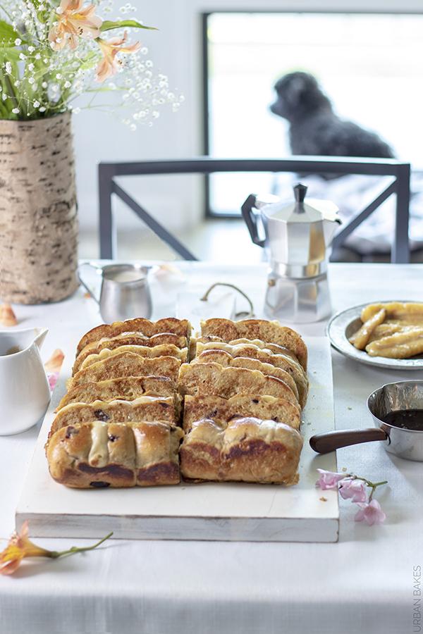 Bananas Foster Hot Cross Buns French Toast | URBAN BAKES
