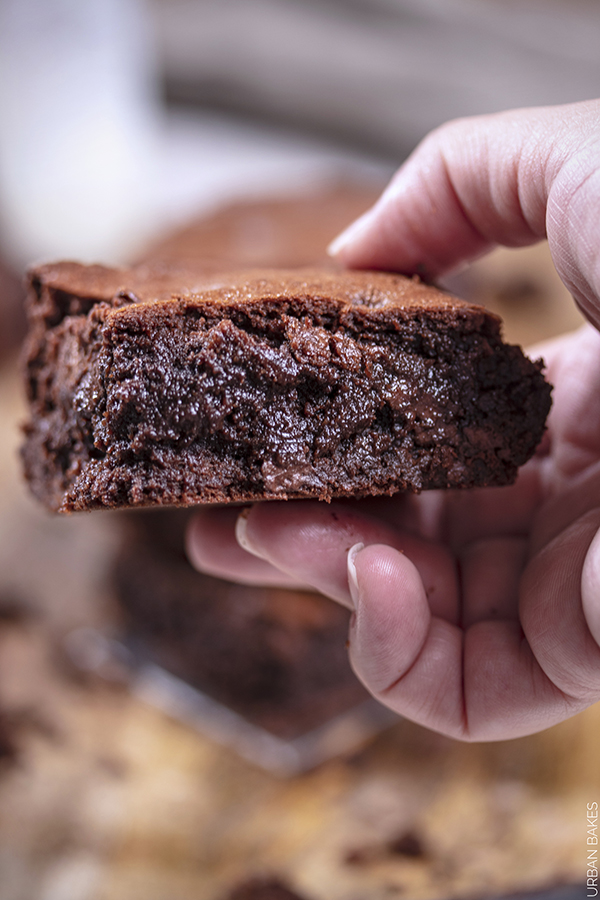The Newest One-Bowl Brownies are Thicker, Richer, much More Chocolaty and Fudgy. With a nice tight crumb and just the right amount of Chewiness with Pockets of Melted Chocolate.