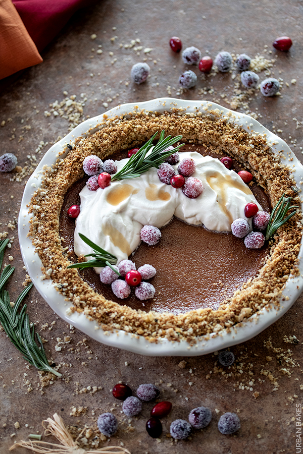 Butternut Squash Pie with Sugared Cranberries | URBAN BAKES