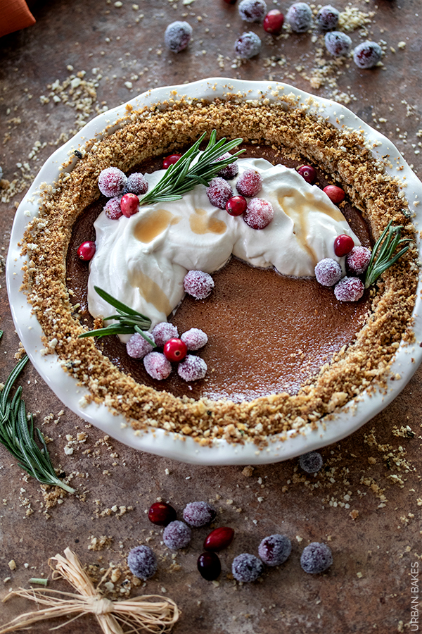 Butternut Squash Pie with Sugared Cranberries   URBAN BAKES
