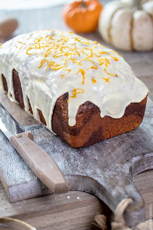 Pumpkin and Chocolate Marbled Cake with Orange Glaze | URBAN BAKES