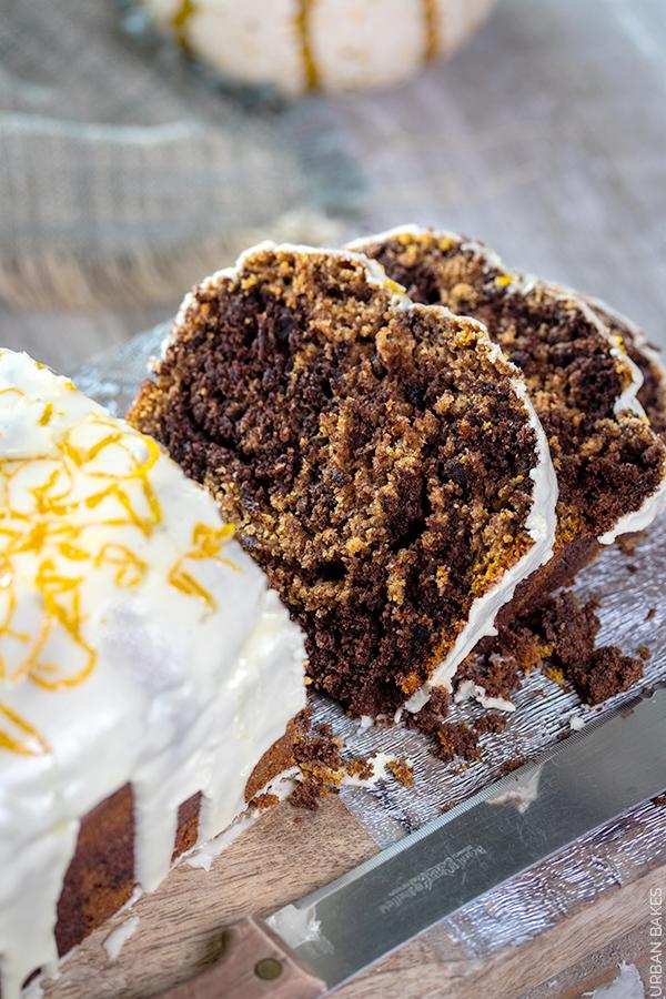 Pumpkin and Chocolate Marbled Cake with Orange Glaze   URBAN BAKES
