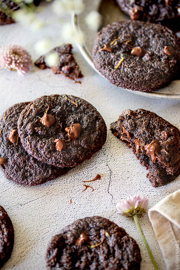 Double Chocolate Chip Zucchini Cookies by URBAN BAKES. These soft-baked, double chocolate chip cookies will leave you so shocked there's zucchini in them!