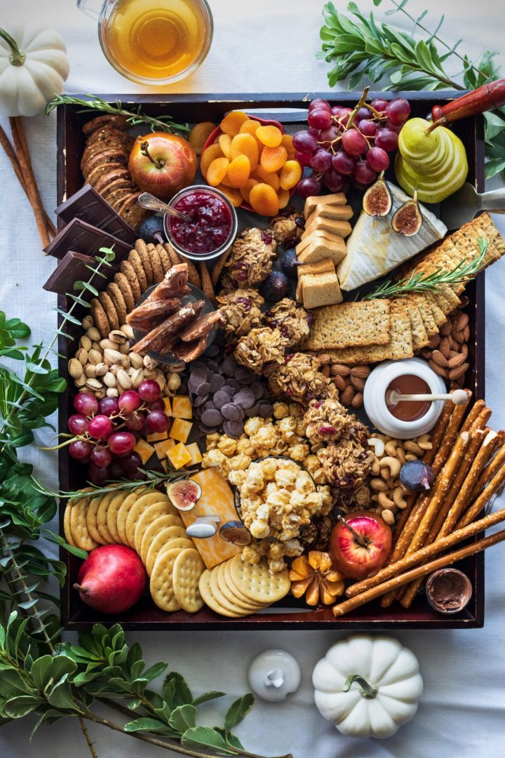 Fall Charcuterie Board with Cranberry Almond Cookie Clusters